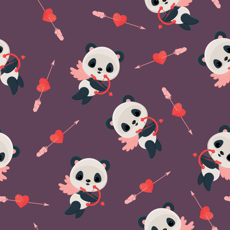 Seamless pattern with panda cupid. Saint Valentines Day wallpaper. Panda cupid with bow, heart, arrow on violet background