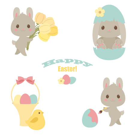 over white: Easter icons set. Bunny rabbit, flowers, eggs, chicken. Happy Easter text. Over white background