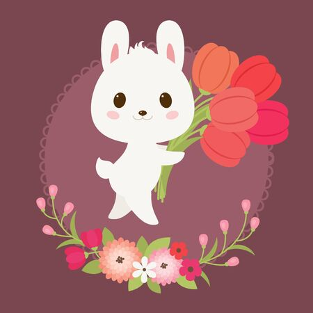 holiday greeting: Holiday greeting card. White bunny with red tulips. Illustration