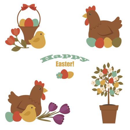 """arbol de pascua: Iconos de Pascua. Gallina, árbol de Pascua, huevos, polluelo, canasta con huevos de Pascua. texto """"feliz Pascua"""". Sobre el fondo blanco"""