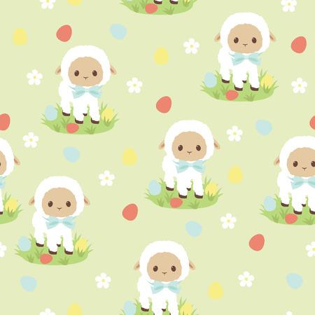 pasen schaap: Traditionele Pasen naadloos patroon. Witte lam, kleurrijke eieren en bloemen Stock Illustratie
