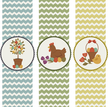 Easter holiday tags set. Isolated over white background. Flat design.