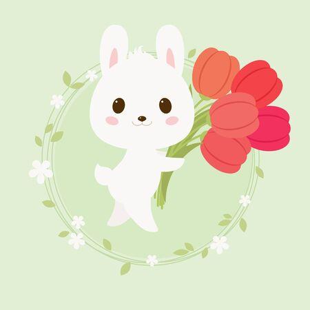 Festive illustration with white rabbit carrying tulips. cartoon illustration