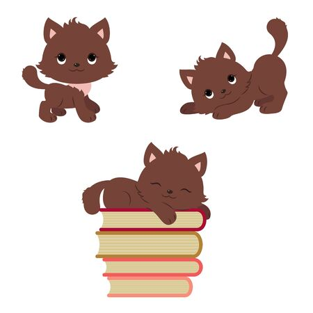 playful: Cute playful kittens icons set.