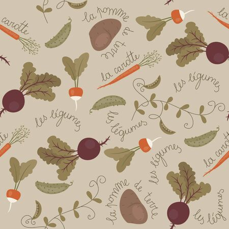 Seamless wallpaper pattern. Variety of vegetables. Lettering  in French: names of vegetables. Illusztráció