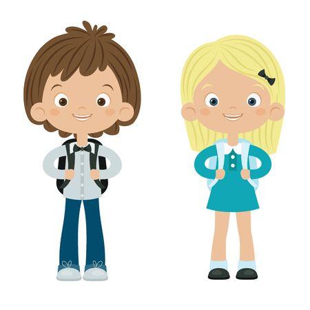niños rubios: Escuela de chico y chica. Aislado sobre fondo blanco. Ilustración feliz niños.
