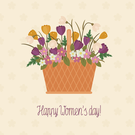 gift basket: Greeting card Happy Womens day. A basket full of spring flowers and hand lettered text
