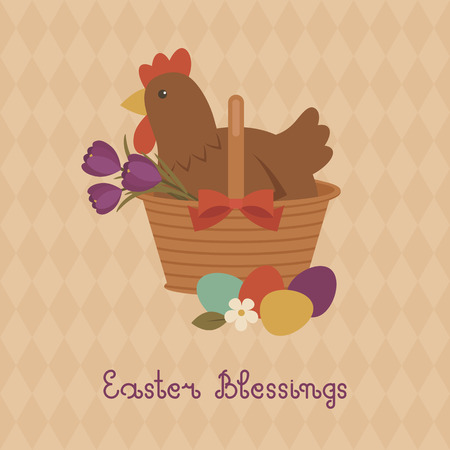 blessings: Easter Blessings card with hen in a basket, crocuses and Easter eggs. Vector layered file with seamless background pattern.