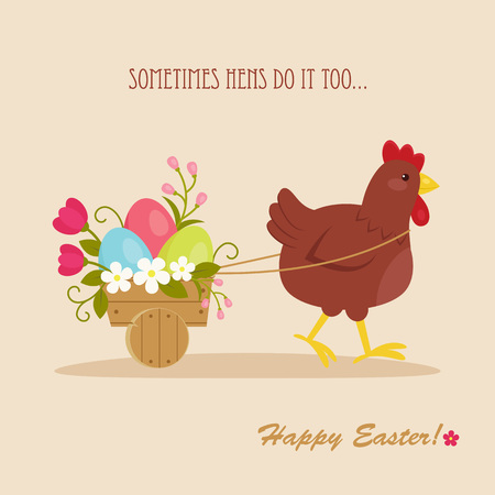 Happy Easter card with hen pulling a cart with Easter eggs and flowers. Easter greetings. Vector layered file.