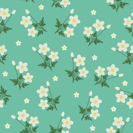 turquesa: flores de primavera sin patrón. anémonas blancas sobre fondo azul turquesa Vectores