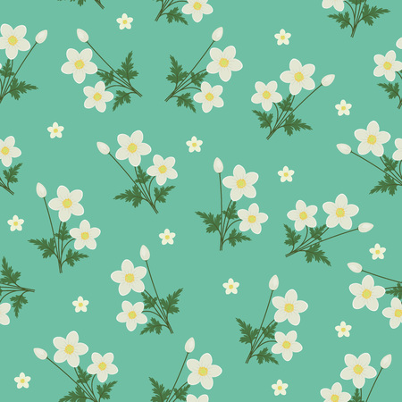 Spring flowers seamless pattern. White anemones on turquoise background