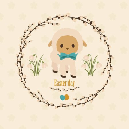 pasen schaap: Pasen wenskaart 2. Lammetje met paaseieren en de lentebloemen Stock Illustratie
