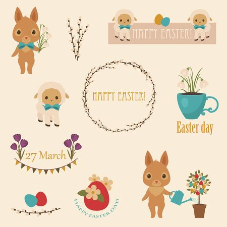 Easter icons set. Bunniesrabbits, flowers, Easter eggs, lambs, Easter tree. Happy Easter text. Tags, labels, banners with traditional Easter seamless