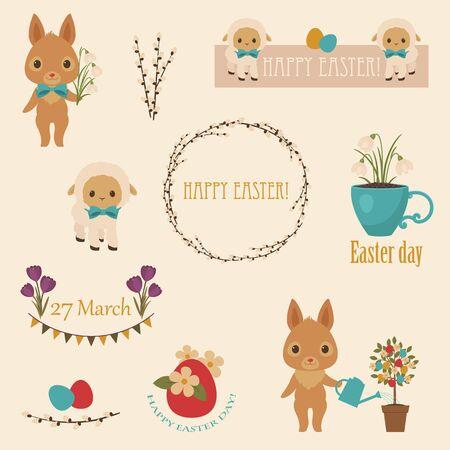 """arbol de pascua: Iconos de Pascua. Los conejos  conejos, flores, huevos de Pascua, corderos, árbol de Pascua. texto """"feliz Pascua"""". Etiquetas, etiquetas, banderas con fisuras tradicional de Pascua"""
