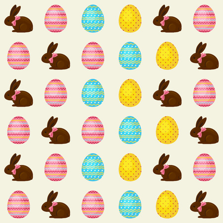pink bow: Easter seamless pattern with chocolate bunnies with pink bow and painted Easter eggs.