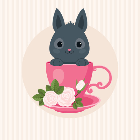 ear bud: Greeting Card with Gray Rabbit in a Tea Cup with Roses. Cute Bunny Vector Illustration.