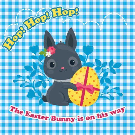 ear checked: Easter greeting card. Easter bunny with Easter egg. Beautiful vector festive illustration.