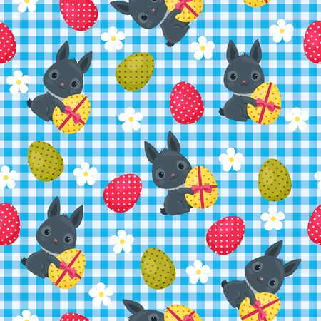 ear checked: Easter seamless wallpaper. Easter bunny with flowers and Easter egg on checkered background. Beautiful vector festive seamless pattern.