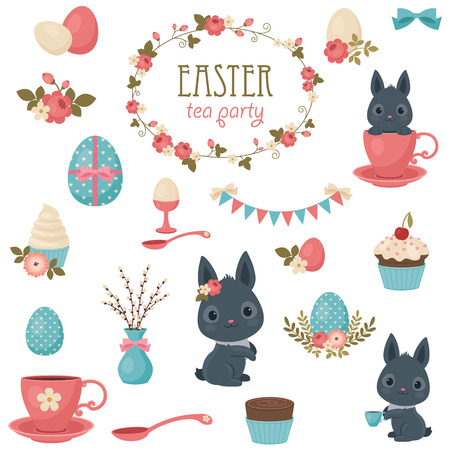 Easter tea party icons set. Isolated over white background. Beautiful vector clip-art.