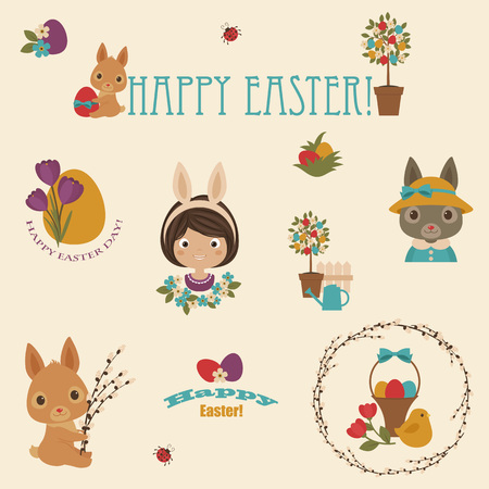 easter flowers: Easter icons set. Bunniesrabbits, flowers, Easter eggs, happy child, Easter basket. Happy Easter text. Illustration