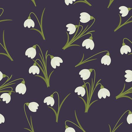 snowdrops: Snowdrops seamless pattern