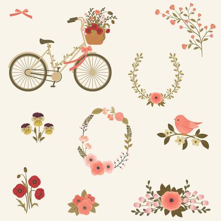 Flores y el arte clip de bicicleta. conjunto de iconos. Moto, pájaro en una rama, la corona de flores, iconos de flores, concepto de la primavera / verano Ilustración de vector
