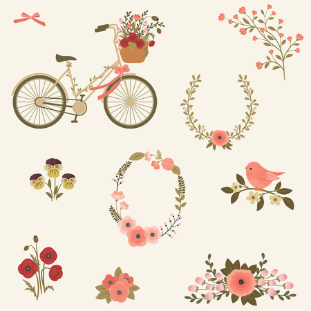flower baskets: Flowers and bicycle clip art. set of icons. Bike, bird on a branch, floral wreath, flower icons, springsummer concept