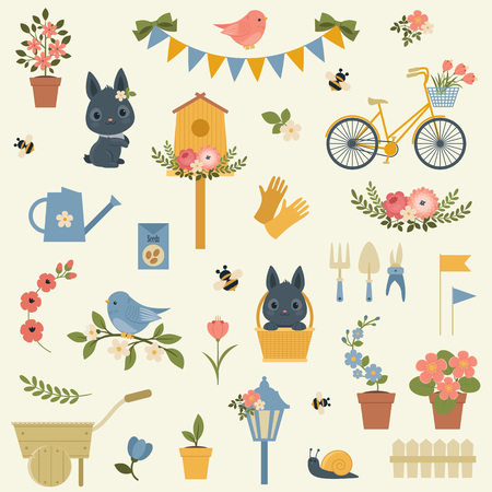 spring: Spring icons collection.  clip-art. All icons are grouped for easy moving