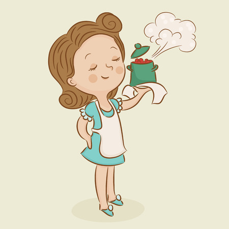 crock pot: Happy chef. Satisfied mom. Woman with a hot crock pot. Woman chef. Cartoon illustration Illustration