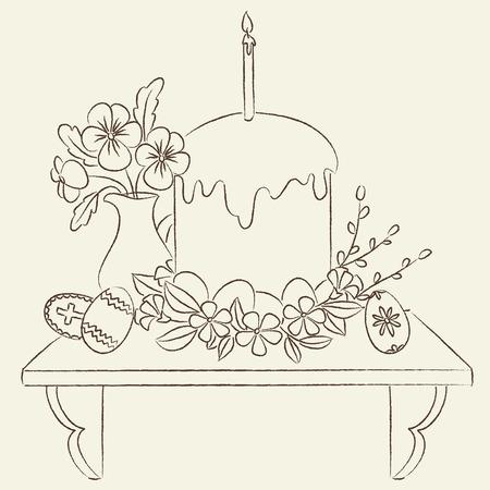 Orthodox Easter illustration. Line art illustration. Coloring page Easter. 向量圖像