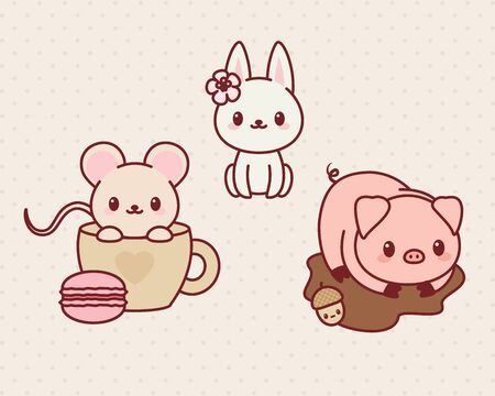 cute mouse: animals set, part 1. illustration of cute animals. Mouse, bunnyrabbit, pig. Illustration