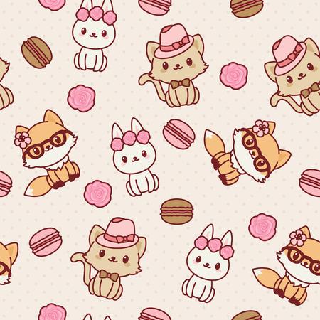 animals seamless wallpaper. pattern. Fashion themed. 矢量图像