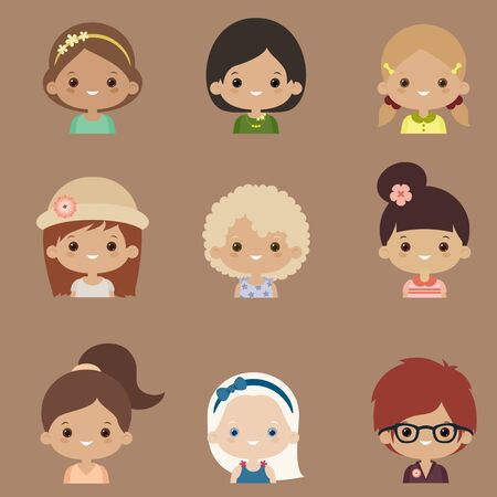 nationality: Flat design icons set of women stylish avatars for profile page, social network, social media, different skin types and nationality characters