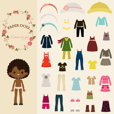 Cute ubierać się lalka papierowa z szablonu ciała czarnej dziewczyny Ilustracje wektorowe
