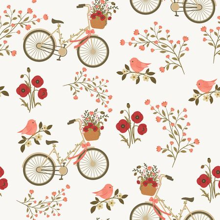 Spring floral seamless pattern with floral bicycle and bird on a branch. seamless wallpaper.