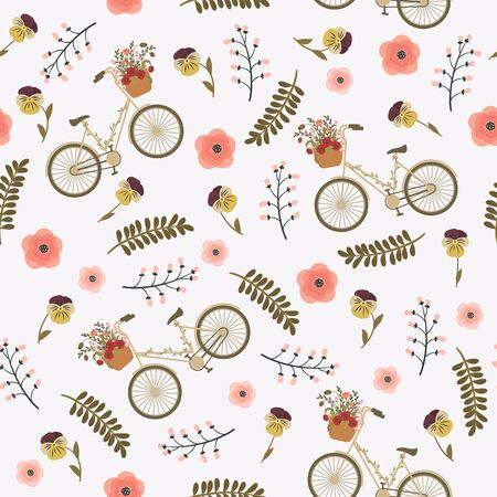 Spring floral seamless pattern with floral bicycle, leaves, branches and flowers. seamless wallpaper.  イラスト・ベクター素材