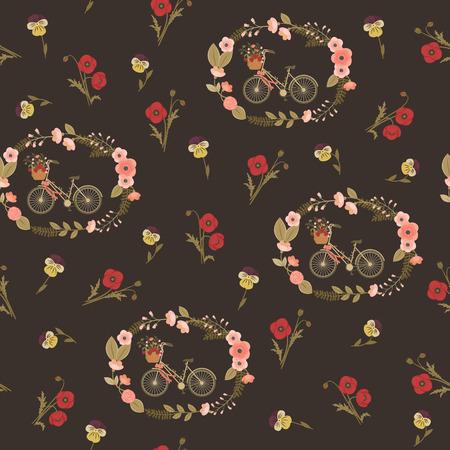 violet flower: Shabby chic seamless floral pattern. Vintage wallpaper. Poppy flower, violet flower, bicycle in a floral wreath. Illustration
