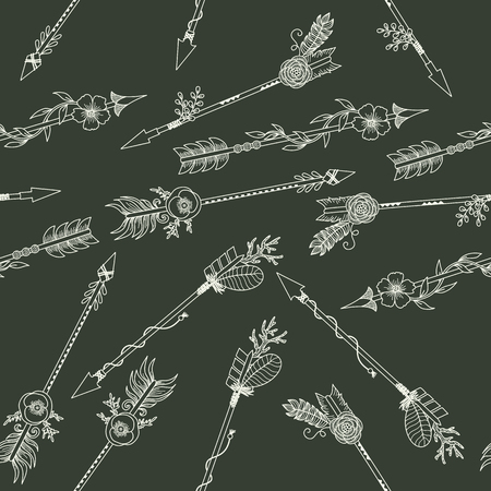 retro patterns: White boho arrows on a black background. seamless pattern Illustration