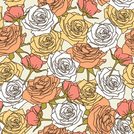 White, orange and peach roses seamless pattern. wallpaper.  floral pattern
