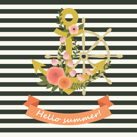 entwined: Gold anchor entwined with flowers and a steering wheel on the background. Striped background. with lettering Hello summer. Invitation, or poster template.