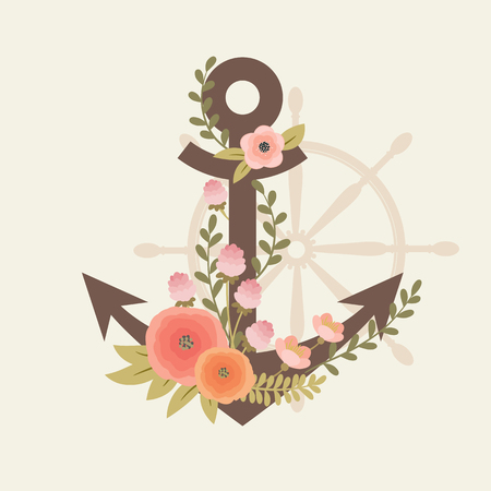 ship anchor: Brown anchor entwined with flowers and a steering wheel on the background. Invitation, or poster template. Illustration
