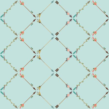 Boho style seamless pattern with fancy arrows. Blue background