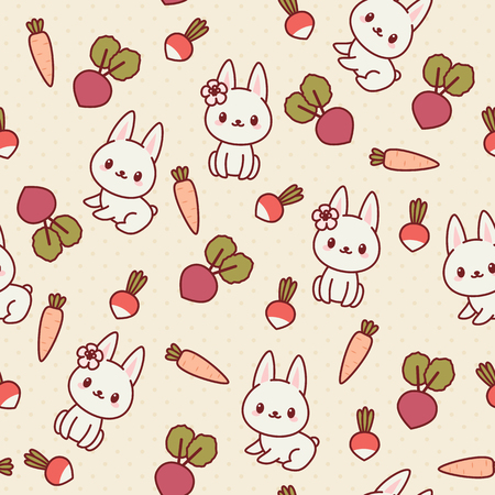 White bunnyrabbit with vegetables. Kawaii seamless wallpaper. Vector pattern.