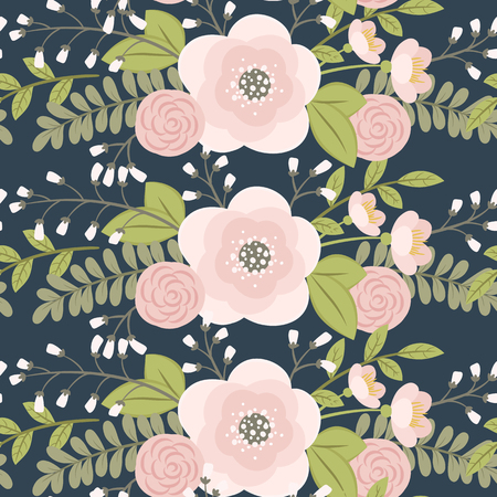 Pink flowers with green leaves on dark blue background. Vector floral seamless pattern.