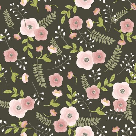 Pink flowers with green leaves on dark gray background. Vector floral seamless pattern. Illustration