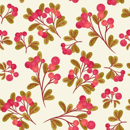 cranberries: Seamless pattern with branches of red cranberries and green leaves on light cream background Illustration