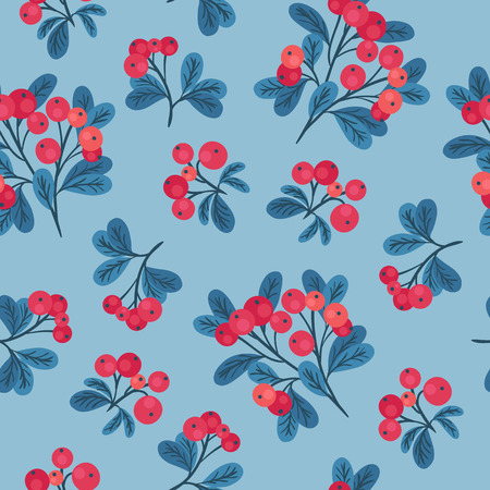 blue light background: Seamless pattern with branches of red cranberries on light blue background