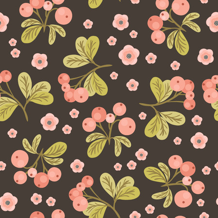 cranberries: Seamless pattern with branches of pink cranberries and green leaves on dark gray background