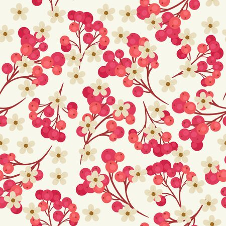 cranberries: Seamless pattern with branches of red cranberries and white flowers on light gray background