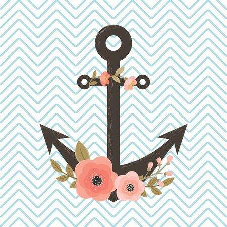 ship anchor: Floral anchor on chevron background. Invitation, flyer, card or poster template. Illustration